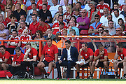 Nottingham Forest manager Philippe Montanier on the bench during the EFL Sky Bet Championship match between Nottingham Forest and Burton Albion at the City Ground, Nottingham, England on 6 August 2016. Photo by Jon Hobley.