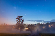 Middletown, New York - Fog at twilight on May 26, 2015.
