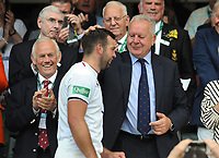 Rugby Union - 2019 Quilter Cup - England XV vs. Barbarians<br /> <br /> Chairman of World Rugby, Bill Beaumont ,congratulates his son (and England Captain), Josh Beaumont  as he collects the trophy at Twickenham.<br /> <br /> COLORSPORT/ANDREW COWIE