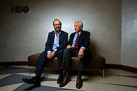 "Actor Paul Giamatti and author David McCullough pos for a portrait in the HBO building in New York, U.S. 2/1/08. The pair worked together on the HBO mini-series ""John Adams"""