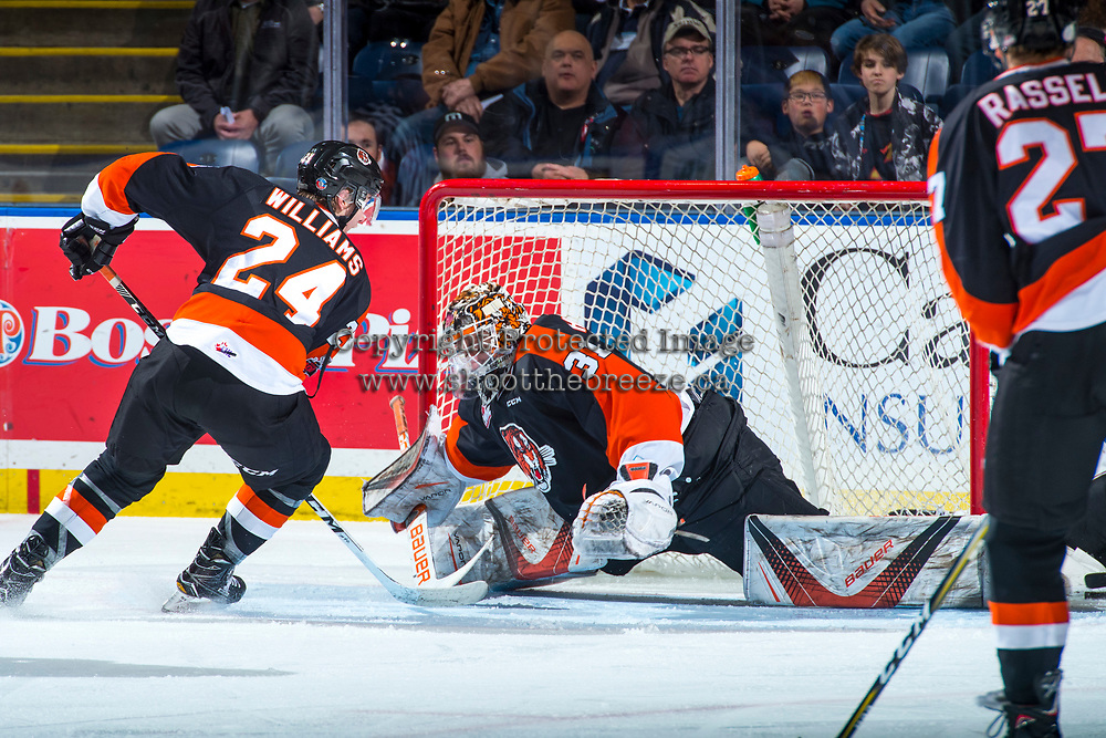 KELOWNA, CANADA - JANUARY 30: Jordan Hollett #31 of the Medicine Hat Tigers makes a save against the Kelowna Rockets on January 30, 2017 at Prospera Place in Kelowna, British Columbia, Canada.  (Photo by Marissa Baecker/Shoot the Breeze)  *** Local Caption ***