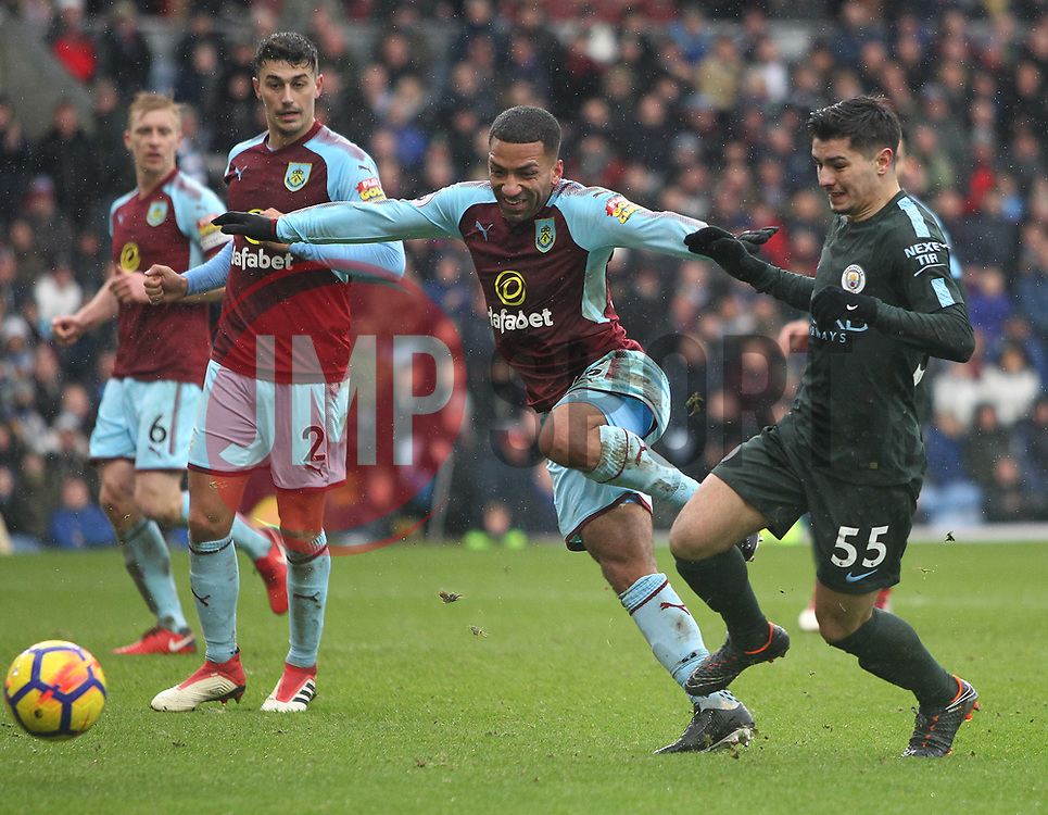 Aaron Lennon of Burnley (C) and Brahim Diaz of Manchester City in action - Mandatory by-line: Jack Phillips/JMP - 03/02/2018 - FOOTBALL - Turf Moor - Burnley, England - Burnley v Manchester City - English Premier League