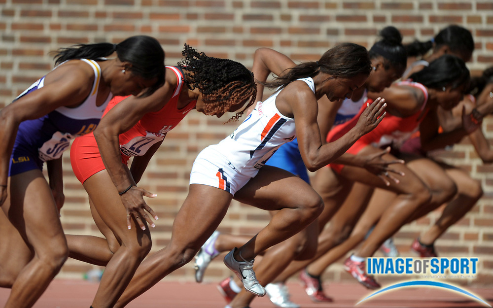 Apr 27, 2012; Philadelphia, PA, USA; General view of runners in the starting blocks of a womens 100m heat in the 118th Penn Relays at Franklin Field.