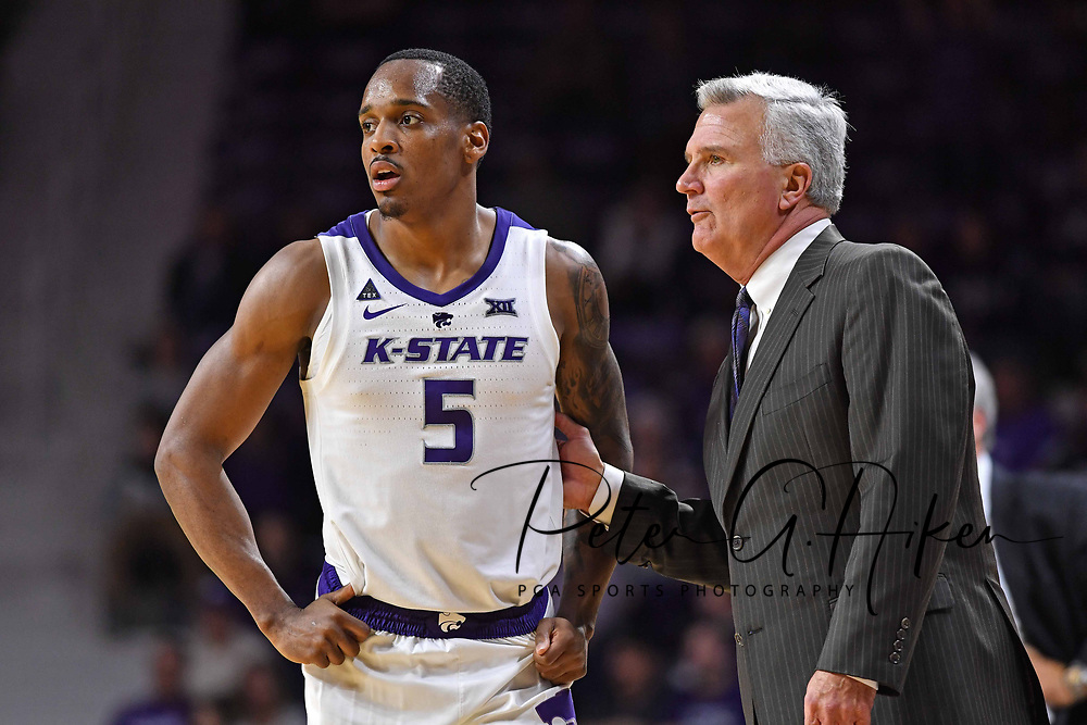MANHATTAN, KS - DECEMBER 19:  Head coach Bruce Weber of the Kansas State Wildcats instructs Barry Brown Jr. #5 during the second half against the Southern Miss Golden Eagles on December 19, 2018 at Bramlage Coliseum in Manhattan, Kansas.  (Photo by Peter G. Aiken/Getty Images) *** Local Caption ***  Bruce Weber;Barry Brown Jr.