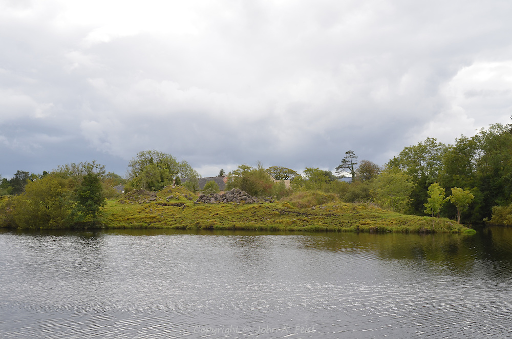 The far shore of the river Erne flowing past the Belleek factory in County Mayo, Northern Ireland