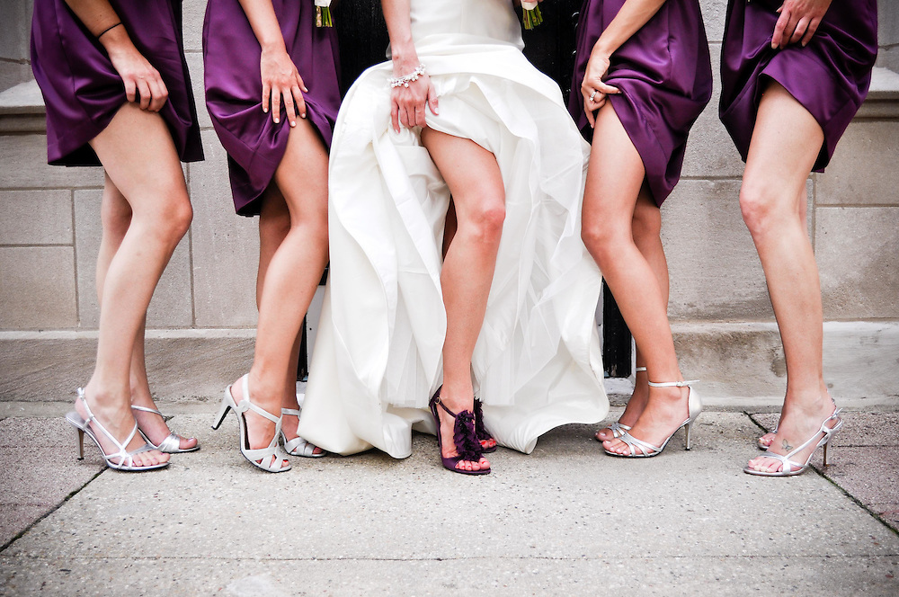 Kelly and her bridesmaids show some leg in Old Town, Chicago, IL