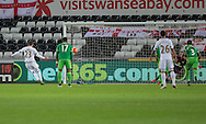 Gylfi Sigurdsson of Swansea scores his side's second goal from the penalty spot during the Barclays Premier League match between Swansea City and Sunderland at the Liberty Stadium, Swansea, Wales on 13 January 2016. Photo by Mark Hawkins.