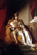 Francis II (1768 – 2 March 1835).  King of Hungary and Croatia. Reigned 1792 – 1835. Holy Roman Emperor. Reign 5 July 1792 – 6 August 1806. Ruled as Austrian Emperor 1768-1835. Formal portrait by Friedrich von Amerling (1803–1887)