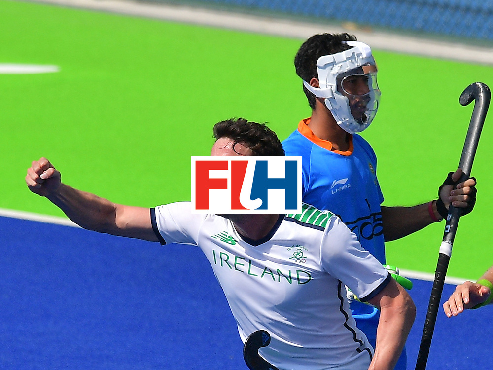 Ireland's Chris Cargo celebrates scoring a goal during the men's field hockey India vs Ireland match of the Rio 2016 Olympics Games at the Olympic Hockey Centre in Rio de Janeiro on August, 6 2016. / AFP / Carl DE SOUZA        (Photo credit should read CARL DE SOUZA/AFP/Getty Images)