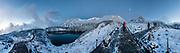 "Snow & fog on Mount Tate (Tate-yama or Tateyama, 3015 m or 9892 ft). Tateyama Kurobe Alpine Route, Murodo, Toyama Prefecture, Chubu Sangaku National Park, Northern Japan Alps. Along with Mount Fuji and Mount Haku, Tateyama is one of Japan's ""Three Holy Mountains"" (Sanreizan). This image was stitched from multiple overlapping photos."