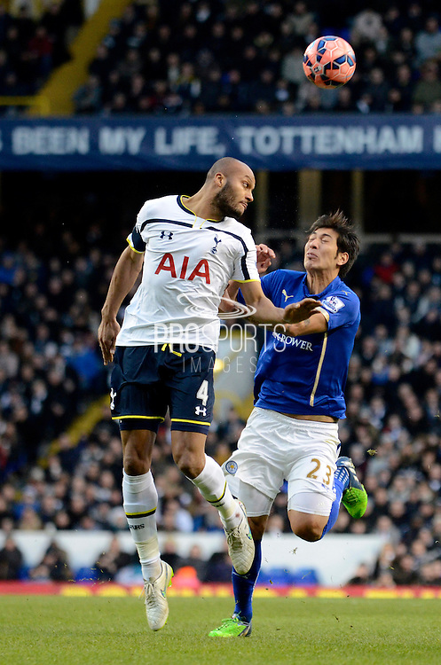 Younes Kaboul wins header during the The FA Cup match between Tottenham Hotspur and Leicester City at White Hart Lane, London, England on 24 January 2015. Photo by Alan Franklin.
