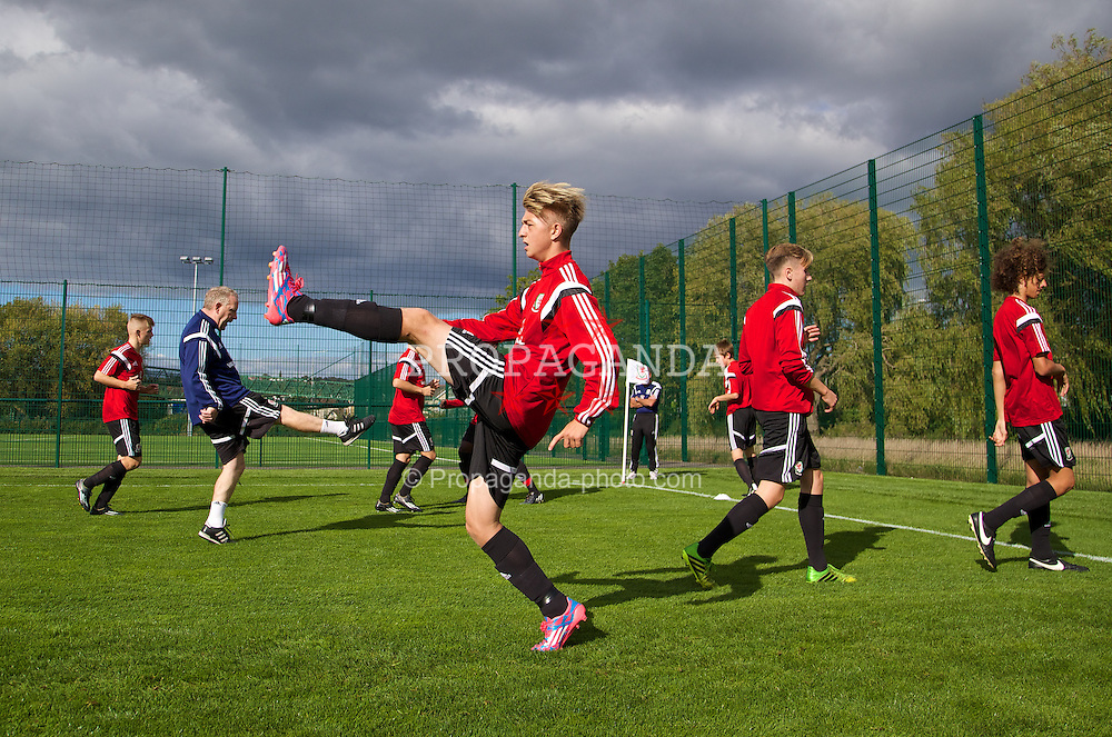 NEWPORT, WALES - Wednesday, September 24, 2014: Wales' Kieran Proctor training at Dragon Park ahead of the Under-16's International Friendly match against France. (Pic by David Rawcliffe/Propaganda)