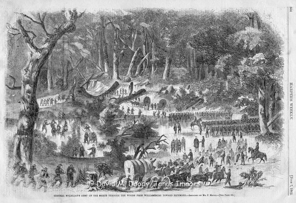 vintage illustration:  Harper's Weekly 1862 On the road to Richmond from Williamsburg, Virginia. Civil War, Peninsula campaign.