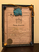 Framed –international ,Mason certificate- with beads and bears glued on 8.5x11in<br />