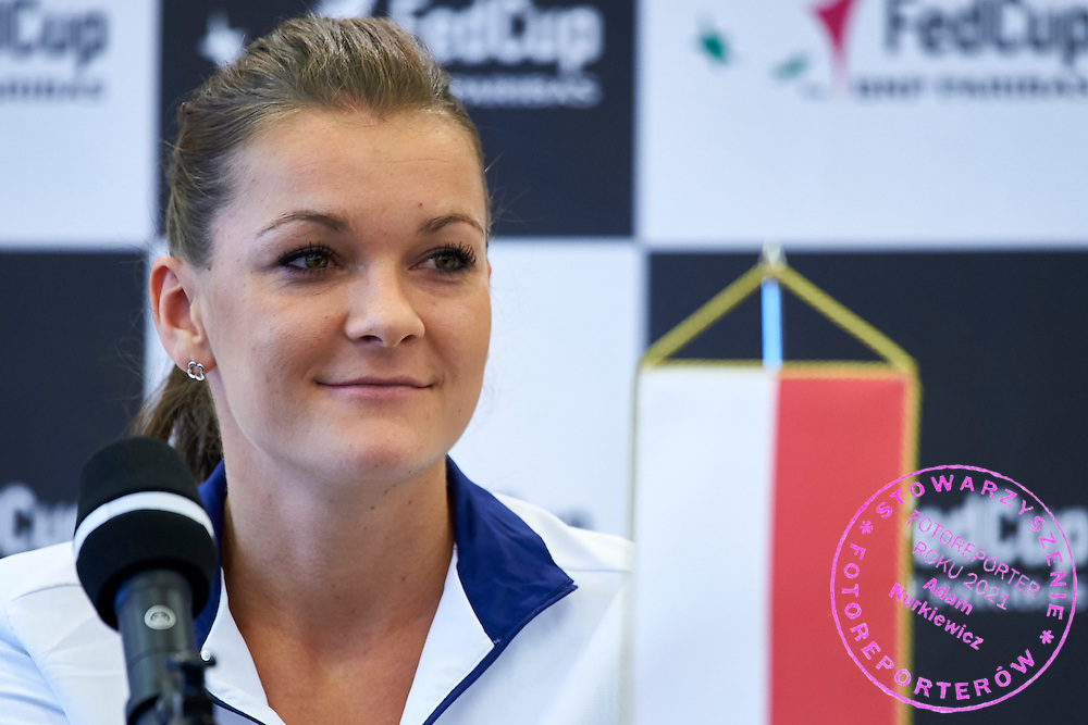 Agnieszka Radwanska from Poland speaks during official draw one day before the Fed Cup / World Group 1st round tennis match between Poland and Russia at Holiday Inn on February 6, 2015 in Cracow, Poland.<br /> <br /> Poland, Cracow, February 6, 2015<br /> <br /> Picture also available in RAW (NEF) or TIFF format on special request.<br /> <br /> For editorial use only. Any commercial or promotional use requires permission.<br /> <br /> Adam Nurkiewicz declares that he has no rights to the image of people at the photographs of his authorship.<br /> <br /> Mandatory credit:<br /> Photo by &copy; Adam Nurkiewicz / Mediasport