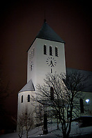 Svolvær Church at night. Image taken with a Nikon D2xs camera and 35 mm f/2 lens (ISO 400, 35 mm, f/2, 1/15 sec)