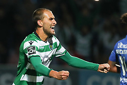 September 8, 2017 - Santa Maria Da Feira, Aveiro, Portugal - Sporting's Netherlands forward Bas Dost celebrates after Sporting's Uruguayan defender Sebastian Coates scoring a goal during the Premier League 2017/18 match between CD Feirense and Sporting CP, at Marcolino de Castro Stadium in Santa Maria da Feira on September 8, 2017. (Credit Image: © Dpi/NurPhoto via ZUMA Press)