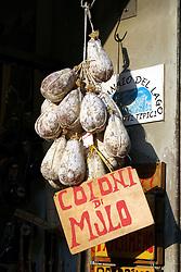 """Castiglione del Lago --  """"Mule"""" cheese for sale along the via Vittorio Emanuele."""