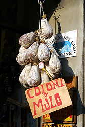 "Castiglione del Lago --  ""Mule"" cheese for sale along the via Vittorio Emanuele."
