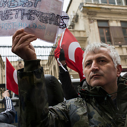 People protest in front of the Dutch consulate in Istanbul, Turkey on March 12, 2017. <br /> The night before protests erupted after Turkish Foreign Minister Mevlut Cavusoglu was barred from entering Holland to address Turkish expats who will vote on the referendum.<br /> On April 16, 2017, Turkish citizens will vote on proposed changes on the constitution that could replace the current parliamentary government system with a presidential one.