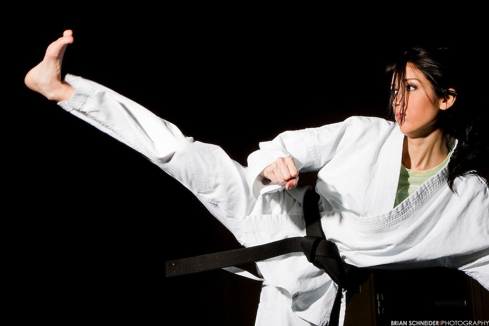Jan 28, 2010; Clemson, SC, USA; College student Alejandra Guerra performs Tae-Kwon Do movements at Clemson University's Fike Recreation Center. Mandatory Credit: Brian Schneider-www.ebrianschneider.com