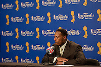 03 June 2010: Forward Paul Pierce of the Boston Celtics speaks to the media after the Los Angeles Lakers 102-89 victory over the Celtics in Game 1 of the NBA Finals at the STAPLES Center in Los Angeles, CA.