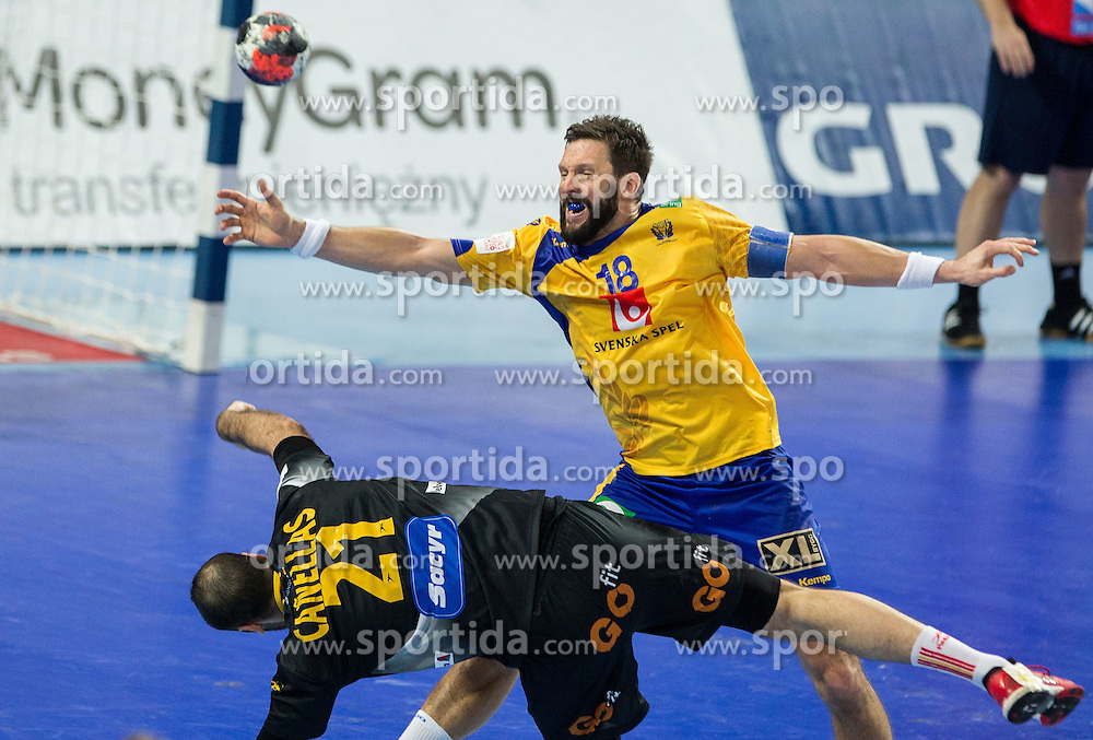 Joan Canellas of Spain vs Tobias Karlsson of Sweden during handball match between National teams of Spain and Sweden on Day 6 in Preliminary Round of Men's EHF EURO 2016, on January 20, 2016 in Centennial Hall, Wroclaw, Poland. Photo by Vid Ponikvar / Sportida