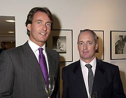 Left to right, co owners of Hamilton Gallery MR TIM JEFFERIES and MR ANDREW COWAN, at an exhibition in London on 19th September 2000.OHB 10
