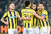 ROTTERDAM - Feyenoord - Vitesse , Voetbal , Eredivisie , Seizoen 2016/2017 , De Kuip , 16-12-2016 , Vitesse speler Adnane Tighadouini (2e r) scoort de 1-1 en viert dit met Vitesse speler Guram Kashia (r) en Vitesse speler Lewis Baker (2e l)