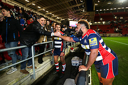Jamal Ford-Robinson of Bristol Rugby celebrates with fans after Bristol Rugby win 28-20 - Rogan Thomson/JMP - 26/12/2016 - RUGBY UNION - Ashton Gate Stadium - Bristol, England - Bristol Rugby v Worcester Warriors - Aviva Premiership Boxing Day Clash.