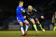 Gillingham FC midfielder Jake Hessenthaler (8) and Bristol Rovers midfielder Ryan Broom  (17) during the EFL Sky Bet League 1 match between Gillingham and Bristol Rovers at the MEMS Priestfield Stadium, Gillingham, England on 16 December 2017. Photo by Martin Cole.