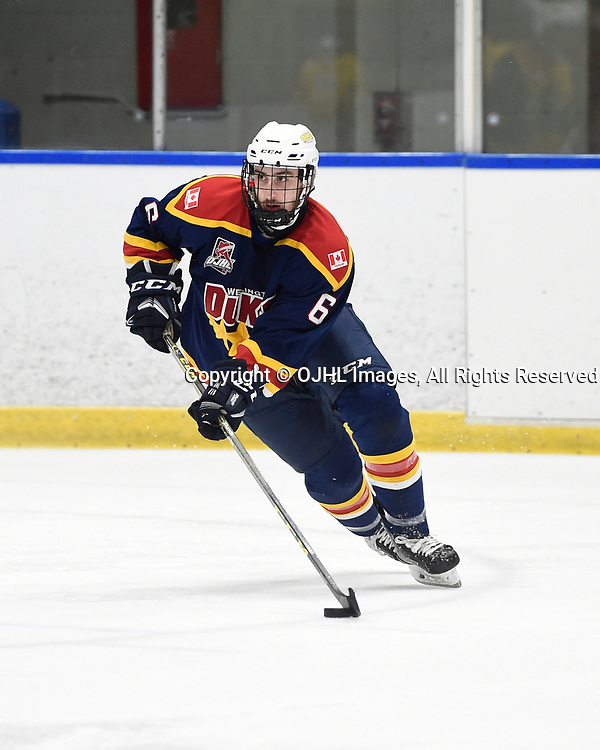 WHITBY, ON  - SEP 24,  2017: Ontario Junior Hockey League game between the Whitby Fury and the Wellington Dukes, Jesse Kestenbaum #6 of the Wellington Dukes skates with the puck during the second period.<br /> (Photo by Andy Corneau / OJHL Images)