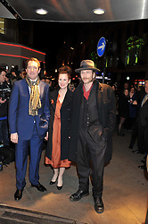 Left to right, BERTIE CARVEL, JOSIE WALKER and PAUL KAYE at the What's On Stage Awards 2012 held at the Prince of wales Theatre, London on 19th February 2012.