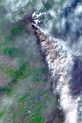 November 3, 2002, Mt. Etna's ash-laden plume. Satellite image.