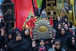 © Licensed to London News Pictures. 04/11/2018. London, UK. Thousands take part in the annual Arbaeen procession in London, which commemorates Imam Husain. Photo credit: Rob Pinney/LNP