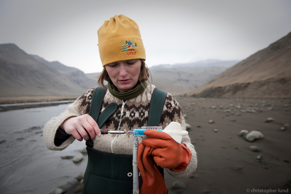 Geologist go out to gather water samples from rivers and small streams near Þorvaldseyri, Iceland. They want to research the affect from volcanic ash from Eyjafjallajökull Volcano.