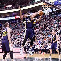 25 January 2016: Utah Jazz center Rudy Gobert (27) grabs the rebound next to Utah Jazz forward Trevor Booker (33) during the Detroit Pistons 95-92 victory over the Utah Jazz, at the Vivint Smart Home Arena, Salt Lake City, Utah, USA.