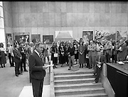 The G.P.A.awards for Emerging Artists..(Guinness Peat Aviation).1984..23.09.1984..09.23.1984..23rd September 1984..The award ceremony was held at The Royal Hibernian Academy of Arts,Gallagher Gallery,Ely Place,Dublin..Image of Mr Tony Ryan, GPA Director,addressing the assembled crowd at the gallery for the awards ceremony.