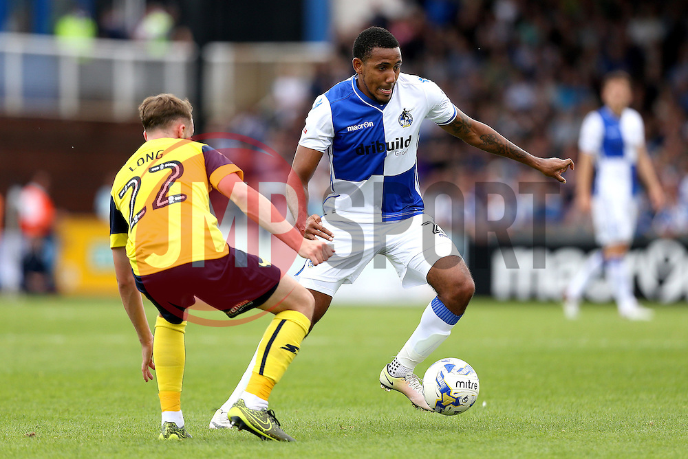 Cristian Montano of Bristol Rovers goes past Sam Long of Oxford United - Mandatory by-line: Robbie Stephenson/JMP - 14/08/2016 - FOOTBALL - Memorial Stadium - Bristol, England - Bristol Rovers v Oxford United - Sky Bet League One