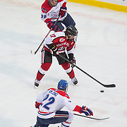 Dalen Hedges #27 of the Northeastern Huskies in action during the Frozen Fenway game between The Northeastern Huskies and The UMass Lowell Riverhawks at Fenway Park on January 11, 2014 in Boston, Massachusetts.
