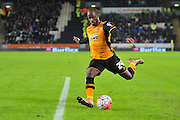 Hull City midfielder Sone Aluko (24)  crosses ball  during the The FA Cup match between Hull City and Brighton and Hove Albion at the KC Stadium, Kingston upon Hull, England on 9 January 2016. Photo by Ian Lyall.