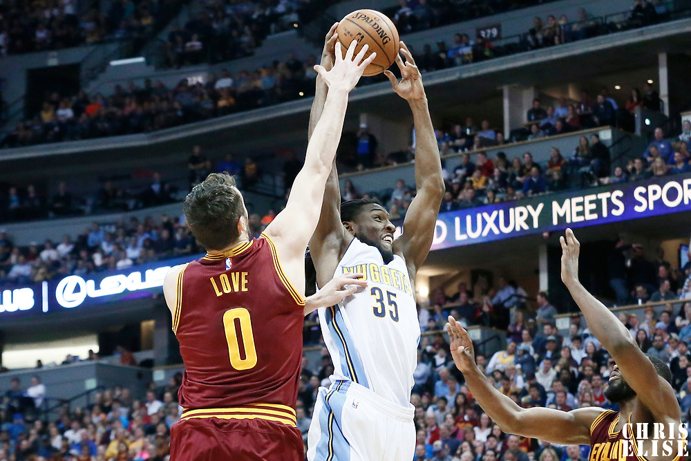 22 March 2017: Denver Nuggets forward Kenneth Faried (35) goes for the dunk past Cleveland Cavaliers forward Kevin Love (0) during the Denver Nuggets 126-113 victory over the Cleveland Cavaliers, at the Pepsi Center, Denver, Colorado, USA.