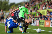 Forest Green Rovers Christian Doidge(9) skips past Bristol Rovers Luke Russe(9) during the Pre-Season Friendly match between Forest Green Rovers and Bristol Rovers at the New Lawn, Forest Green, United Kingdom on 21 July 2018. Picture by Shane Healey.