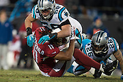 January 24, 2016: Carolina Panthers vs Arizona Cardinals. Luke Kuechly tackles Larry Fitzgerald