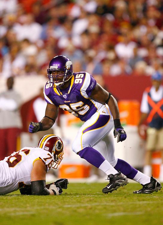 LANDOVER, MD - SEPTEMBER 11: #95 Kenechi Udeze of the Minnesota Vikings in action against the Washington Redskins on September 11, 2006 at FedEx Field in Landover, Maryland.   The Vikings won 19-16.  *** Local Caption *** Kenechi Udeze