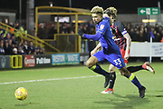 AFC Wimbledon striker Lyle Taylor (33) chasing a through ball during the EFL Sky Bet League 1 match between AFC Wimbledon and Blackburn Rovers at the Cherry Red Records Stadium, Kingston, England on 27 February 2018. Picture by Matthew Redman.