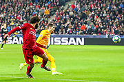 Goal Liverpool forward Mohamed Salah (11) scores a goal 0-2 during the Champions League match between FC Red Bull Salzburg and Liverpool at the Red Bull Arena, Salzburg, Austria on 10 December 2019.