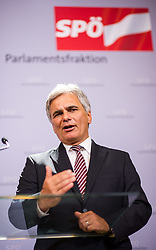 25.08.2014, Parlament, Wien, AUT, SPOe, Pressekonferenz zu den Personalentscheidungen nach Sitzung des Parteipraesidium. im Bild Bundeskanzler Werner Faymann SPOe // Federal Chancellor Werner Faymann SPOe during press conference after Executive Committee meeting of SPOe at Austrian Parliament in Vienna, Austria on 2014/08/25 EXPA Pictures © 2014, PhotoCredit: EXPA/ Michael Gruber
