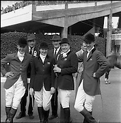06/08/1960<br /> 08/06/1960<br /> 06 August 1960<br /> R.D.S Horse Show Dublin (Saturday). The British Olympic team for Rome. L-R: David Barker; Lieut.-Col. J.A. Talbot-Ponsonby, trainer; Mrs Dawn Wofford; Lieut.-Col. Harry Llewellyn, Chairman British Show Jumping Association Selection Committee; Miss Pat Smythe and David Broome.