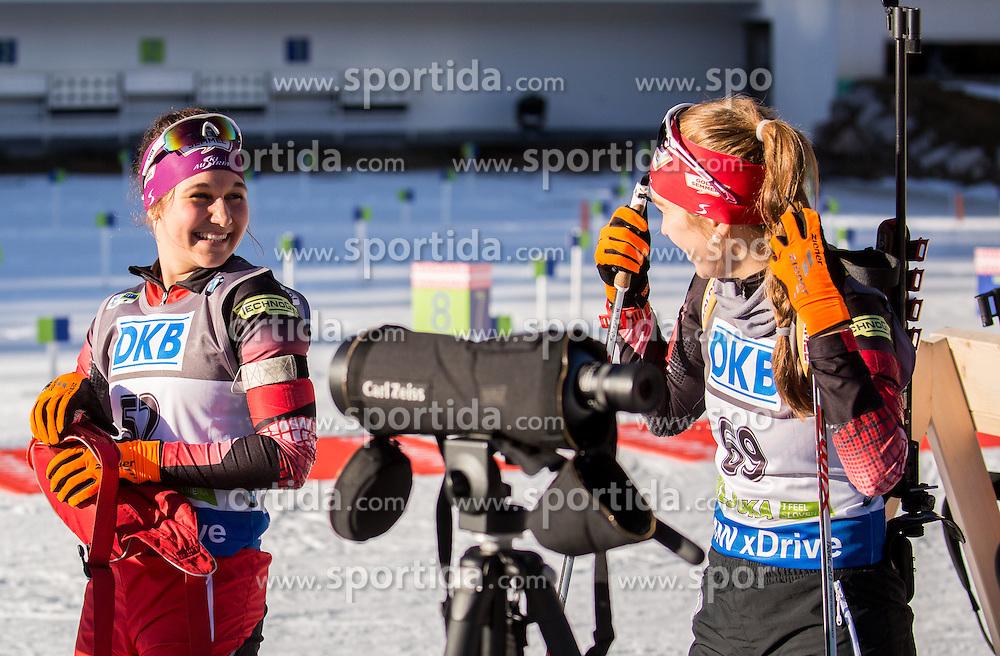 Dunja Zdouc (AUT) and Fabienne Hartweger (AUT) during Women 7,5 km Sprint at day 2 of IBU Biathlon World Cup 2015/16 Pokljuka, on December 18, 2015 in Rudno polje, Pokljuka, Slovenia. Photo by Vid Ponikvar / Sportida